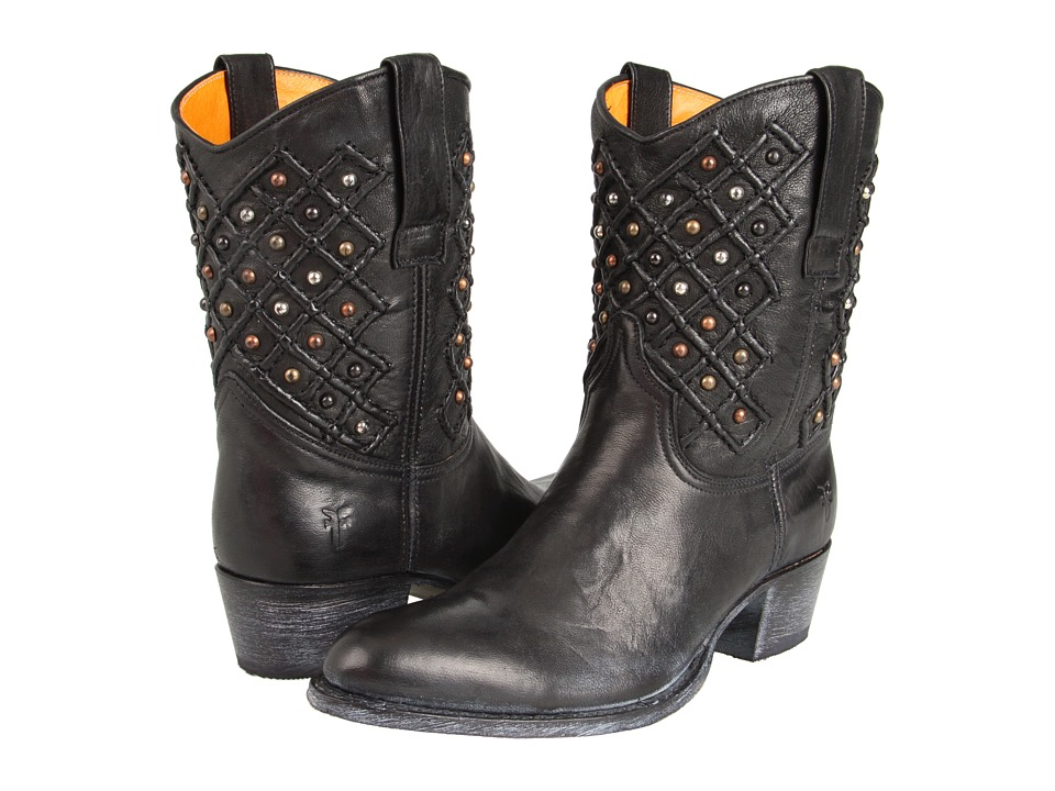 Frye Deborah Pin Tuck (Black) Cowboy Boots