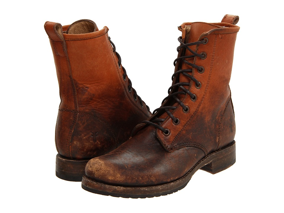 Frye - Veronica Combat (Cognac Stone Wash) Women's Lace-up Boots