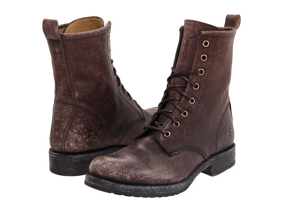 Frye - Veronica Combat (Dark Brown Stone Wash) Women's Lace-up Boots
