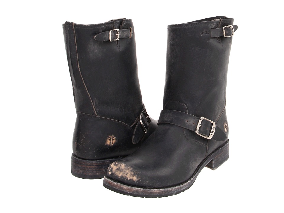 Frye Veronica Shortie (Black Stone Wash) Cowboy Boots