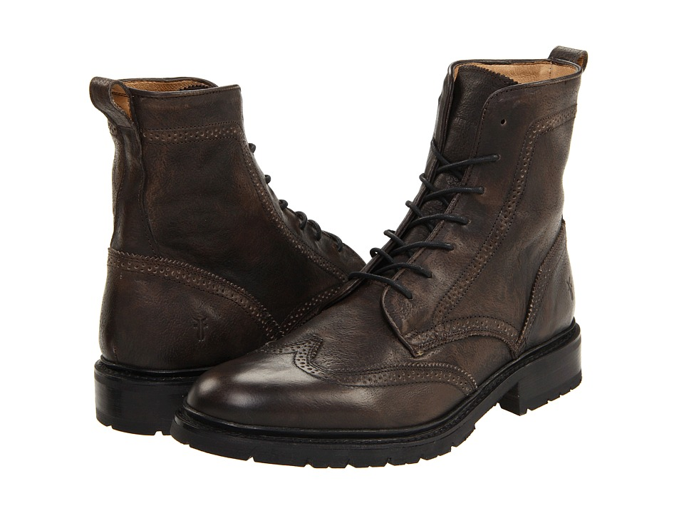 Frye - James Lug Wingtip Boot (Grey Tumbled Brush Off) Men's Lace-up Boots