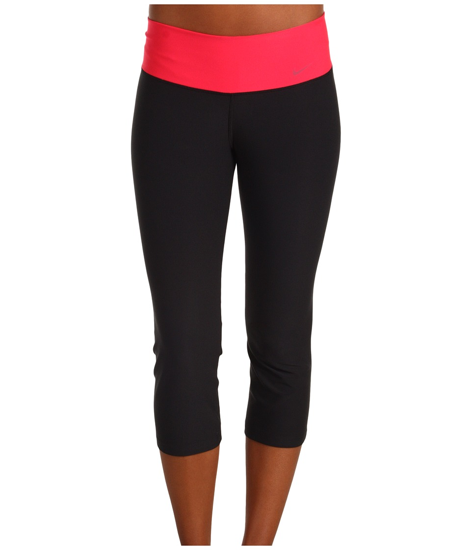 Nike - Legend Slim Poly Capri (Black/Scarlet Fire/Black) Women's Capri