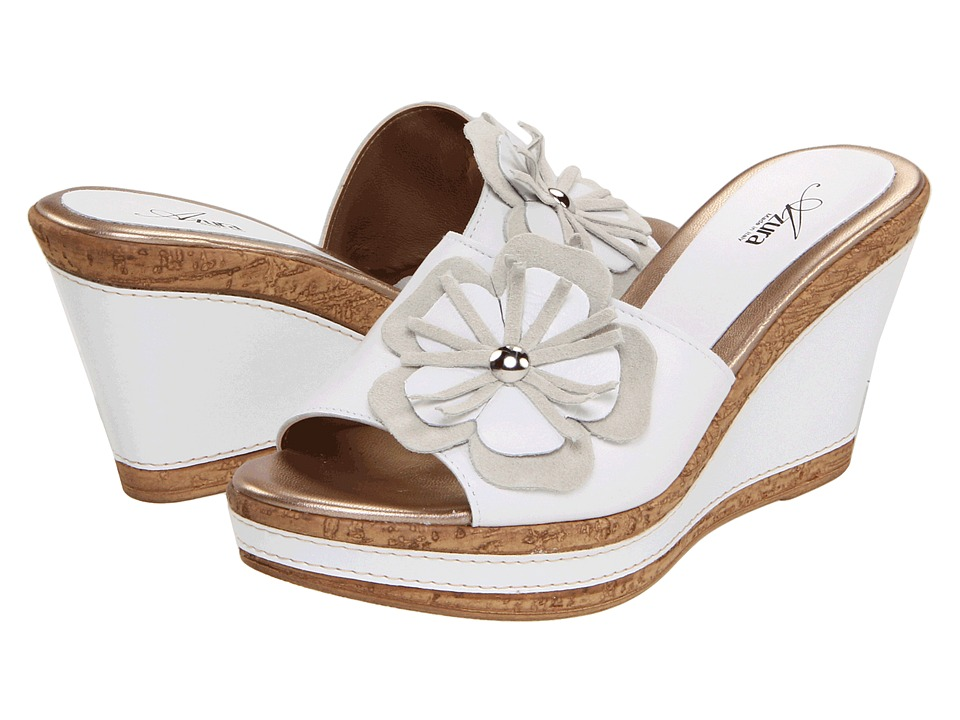 Spring Step - Narcisse (White Leather) Women's Wedge Shoes