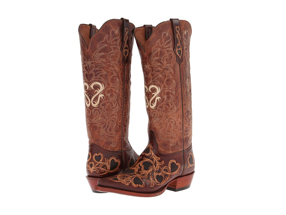 Tony Lama - Signature Series Hearts Scroll Boot (Cognac/Natural/Peanut) Cowboy Boots
