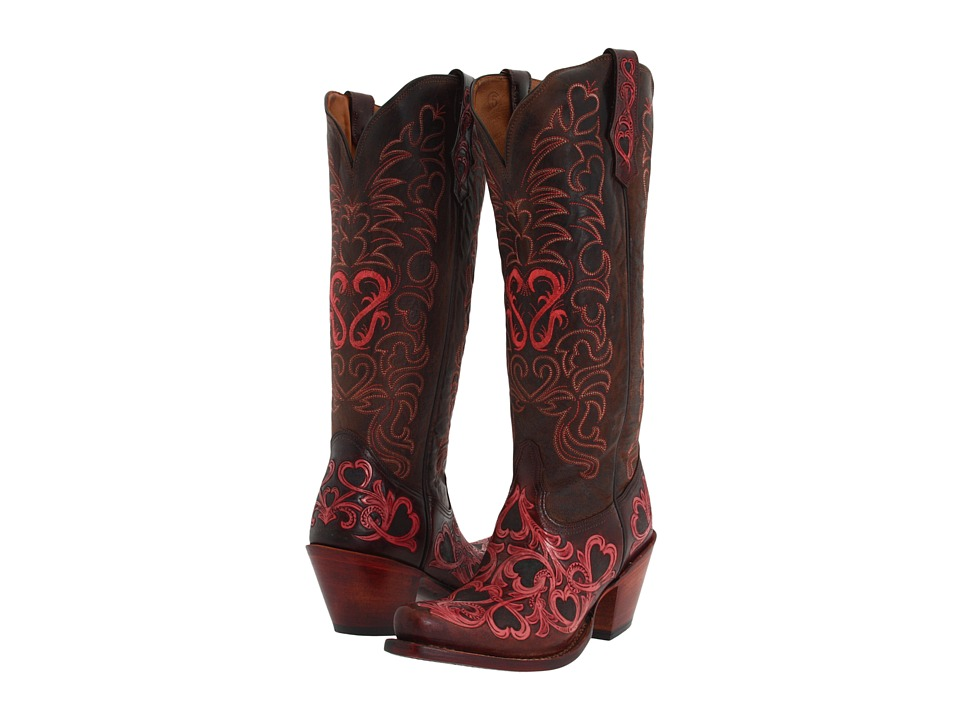 Tony Lama Signature Series Hearts Scroll Boot (Chocolate/Pink/Dark Chocolate) Cowboy Boots