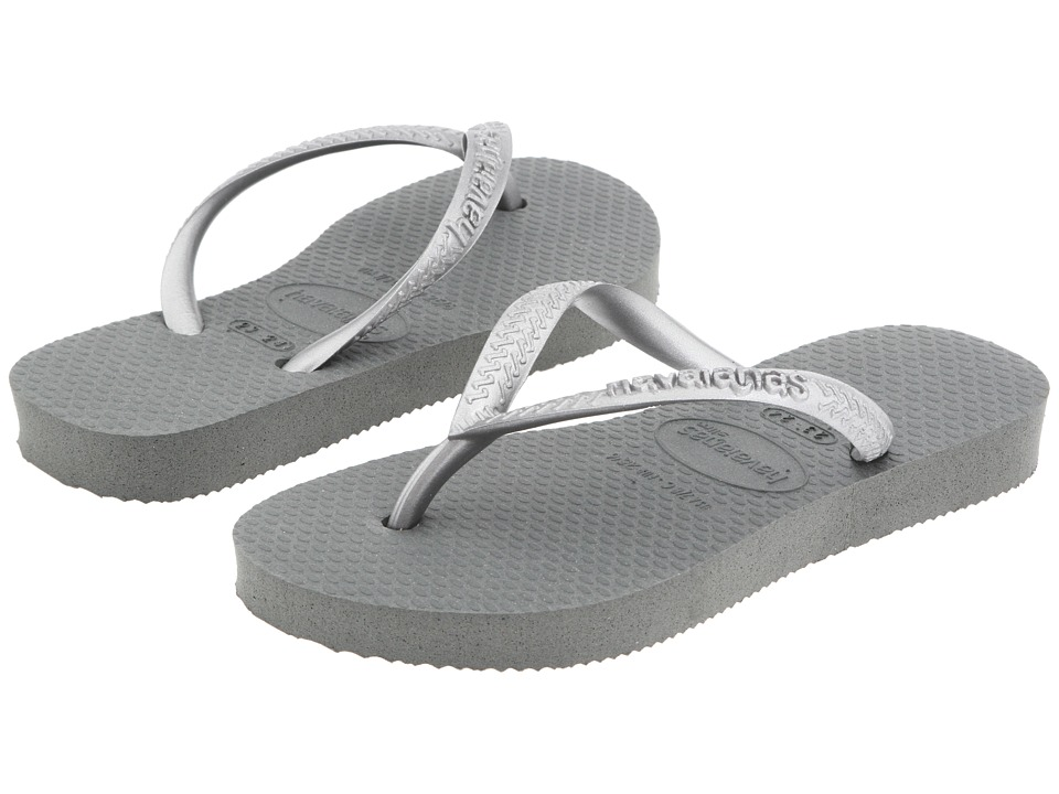 Havaianas Kids - Slim Flip Flops (Toddler/Little Kid/Big Kid) (Grey/Silver) Girls Shoes