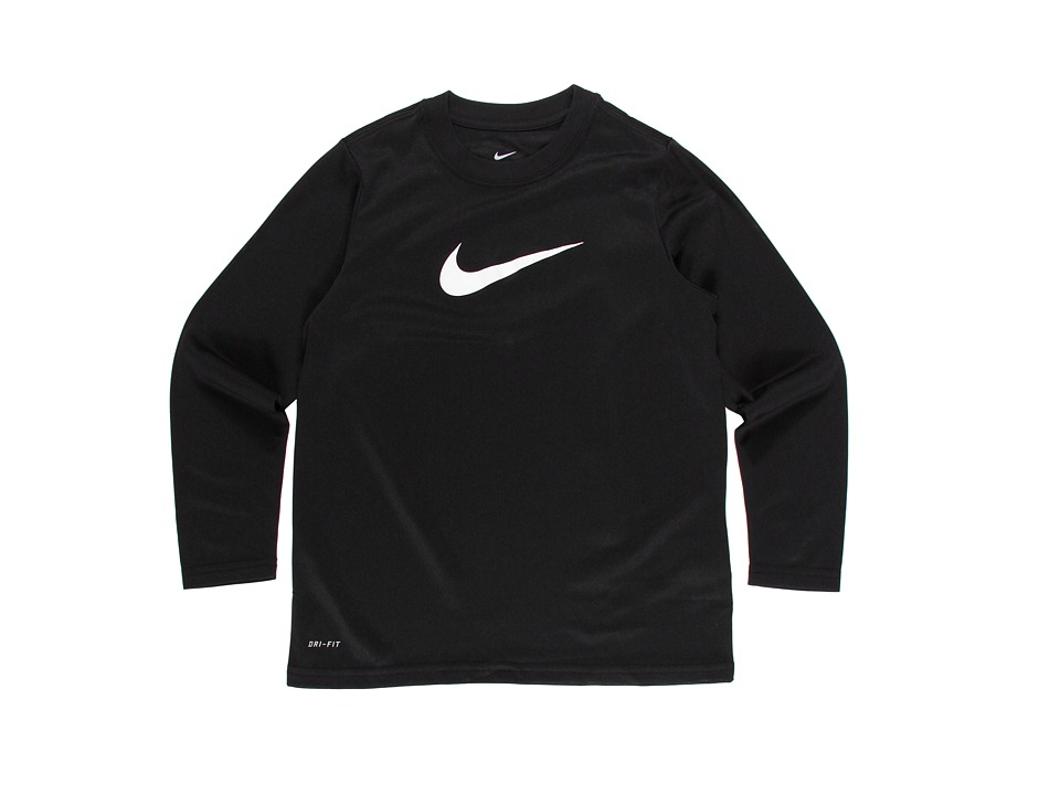 Nike Kids - Legend L/S Top (Big Kids) (Black/White) Boy's Workout