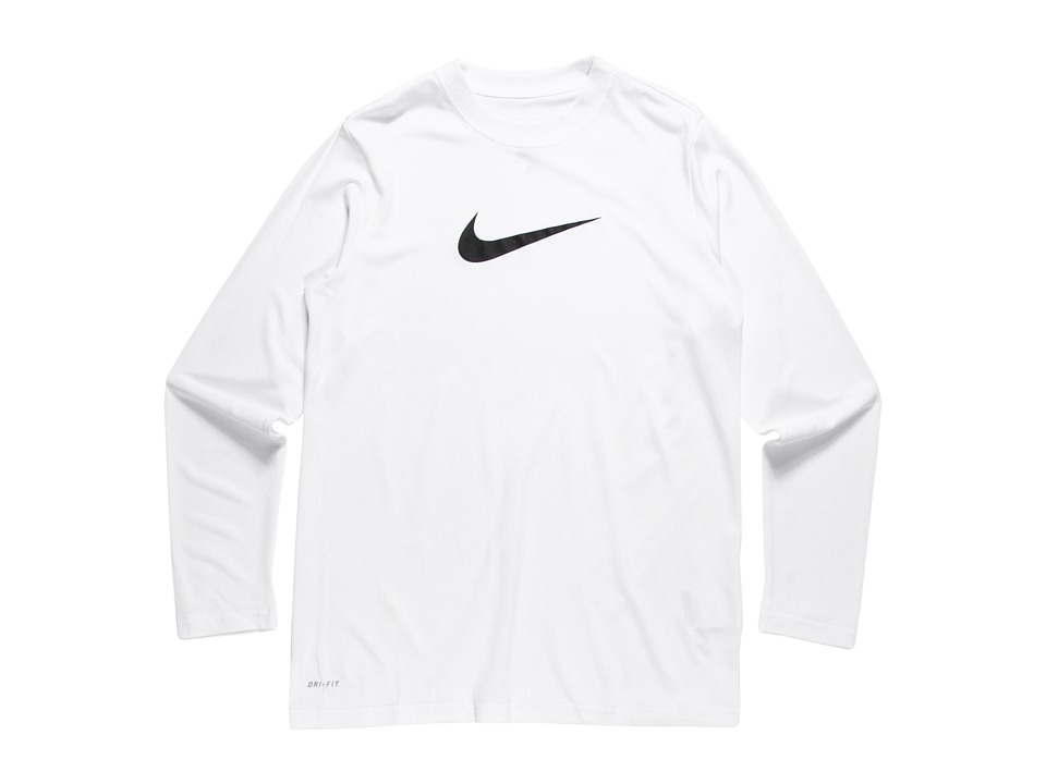 Nike Kids - Legend L/S Top (Big Kids) (White/Black) Boy's Workout