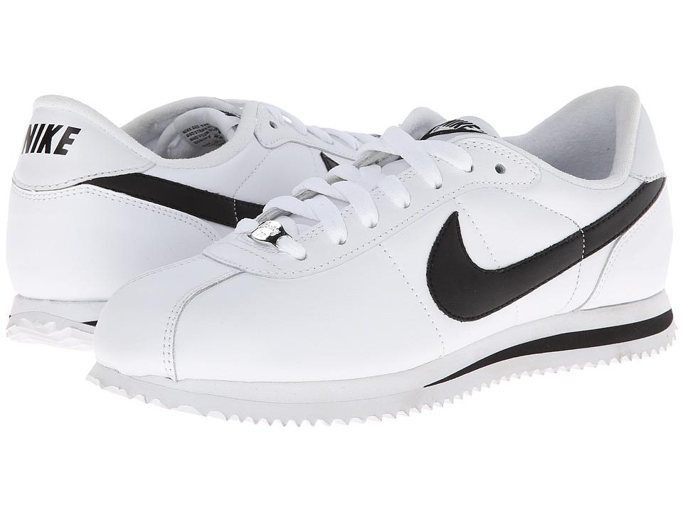 Nike - Cortez Leather (White/Metallic Silver/Black) Men's Shoes