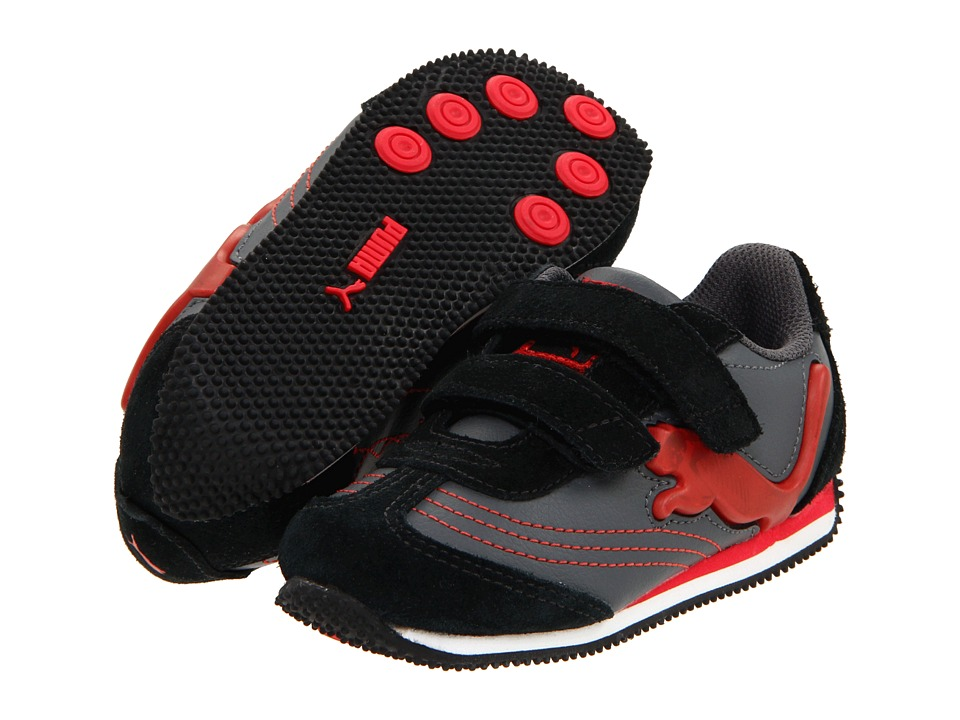 Puma Kids - Speeder Illuminescent V Suede (Infant/Toddler/Youth) (Dark Shadow/Black/High Risk Red) Boys Shoes