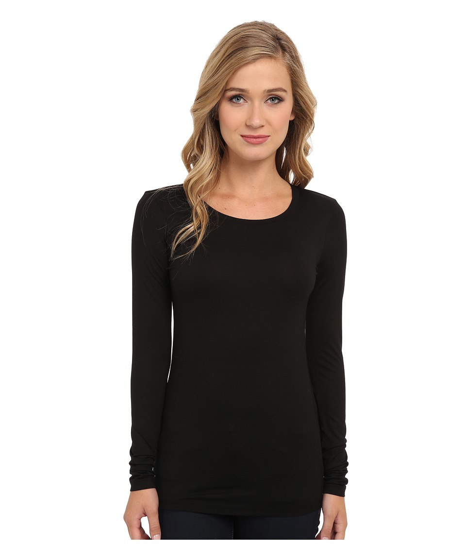 Three Dots - Lightweight Viscose L/S Open Crew Neck (Black) Women's Clothing