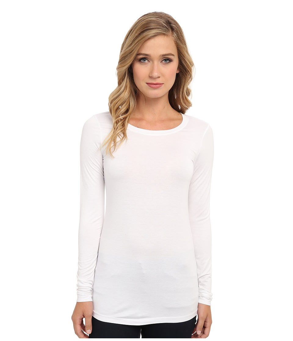 Three Dots - Lightweight Viscose L/S Open Crew Neck (White) Women's Clothing