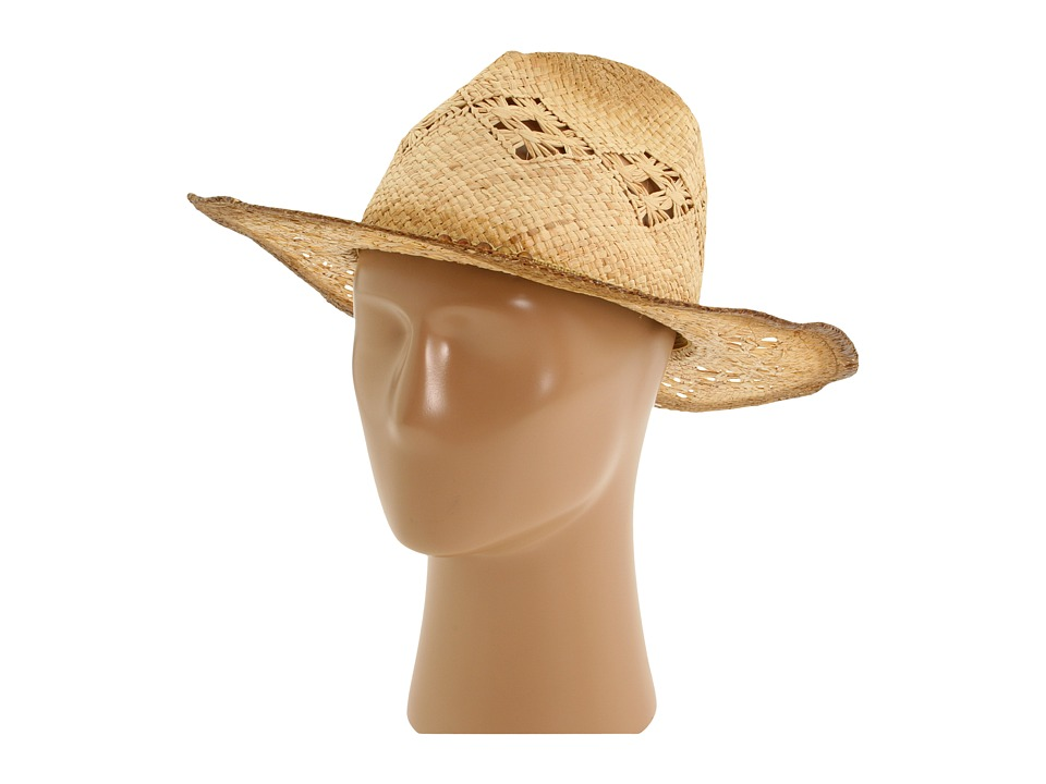 San Diego Hat Company - RHC1020 Raffia Cowboy Hat with Macramae (Tea Stain) Traditional Hats