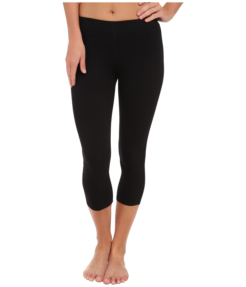 Three Dots - Cotton Stretch Cropped Legging (Black) Women's Clothing