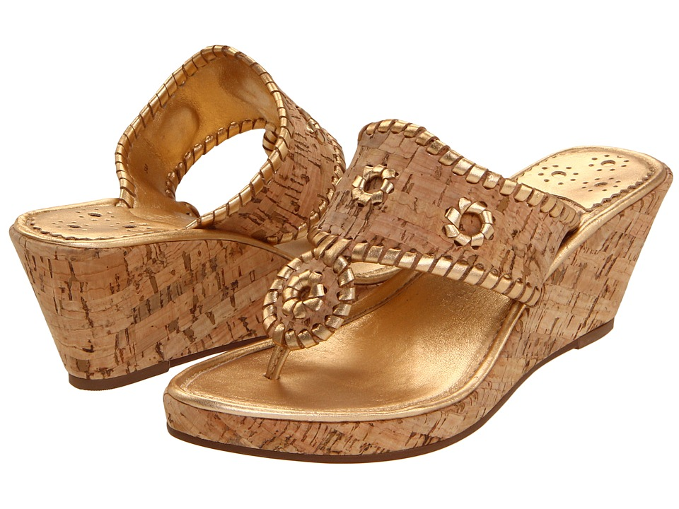 Jack Rogers Marbella Mid-Height Espadrille (Natural Cork/Gold) Women