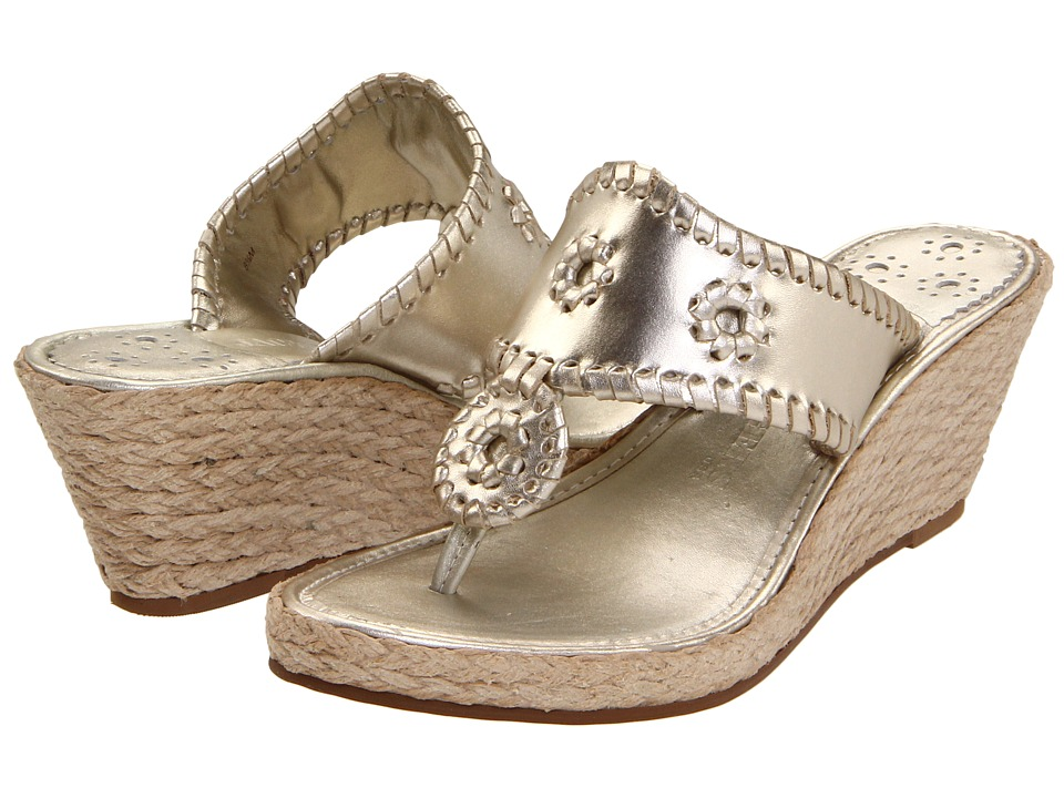 Jack Rogers - Marbella Mid-Height Espadrille (Platinum) Women's Wedge Shoes