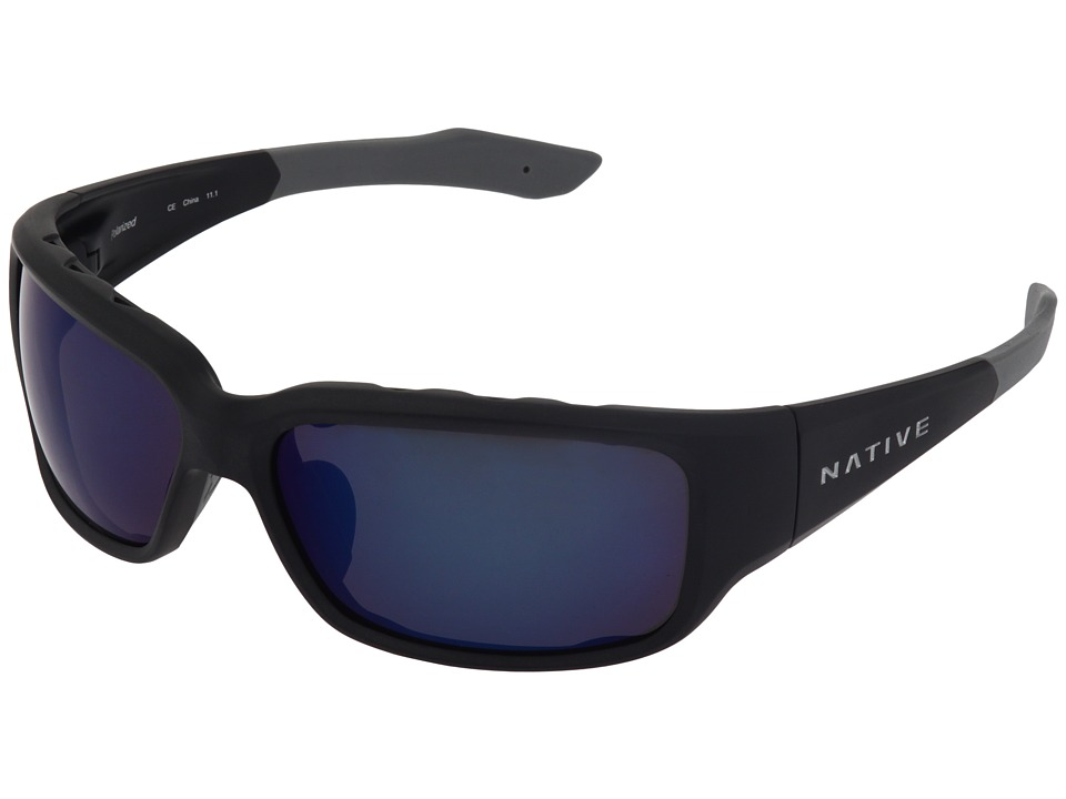 Native Eyewear Bolder Polarized (Asphalt/Blue Reflex Lens) Sport Sunglasses