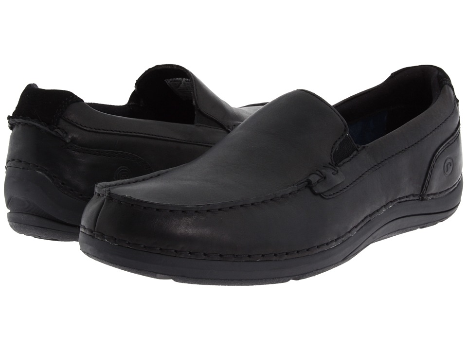 Rockport - Thru The Week Slip On (Black Leather) Men's Shoes