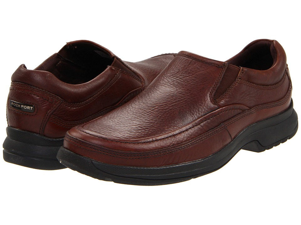 Rockport Barrow Loft Moc Slip On (Dark Tan Leather) Men