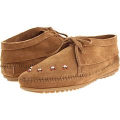 Minnetonka Beaded Ankle Boot (Hardsole Taupe Suede) Footwear