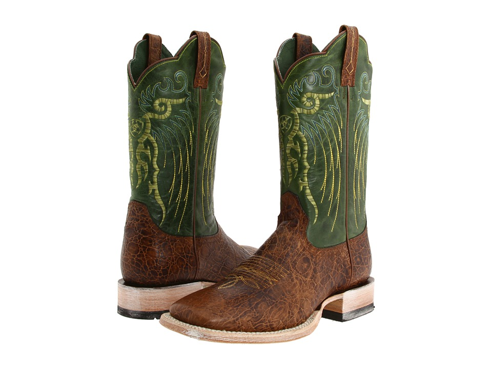 Ariat - Mesteno (Adobe Clay/Neon Lime) Cowboy Boots