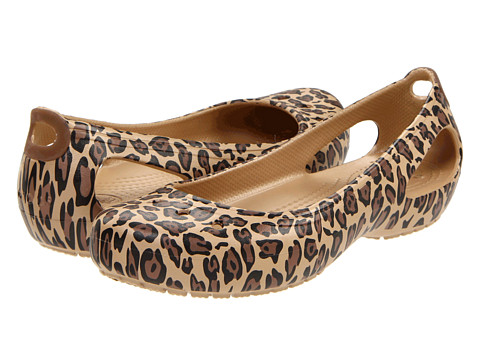 Crocs - Kadee Leopard (Gold/Black) Women's Slip on Shoes
