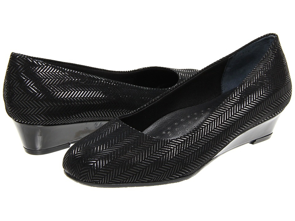 Trotters - Lauren (Black Suede Patent Leather) Women's Wedge Shoes