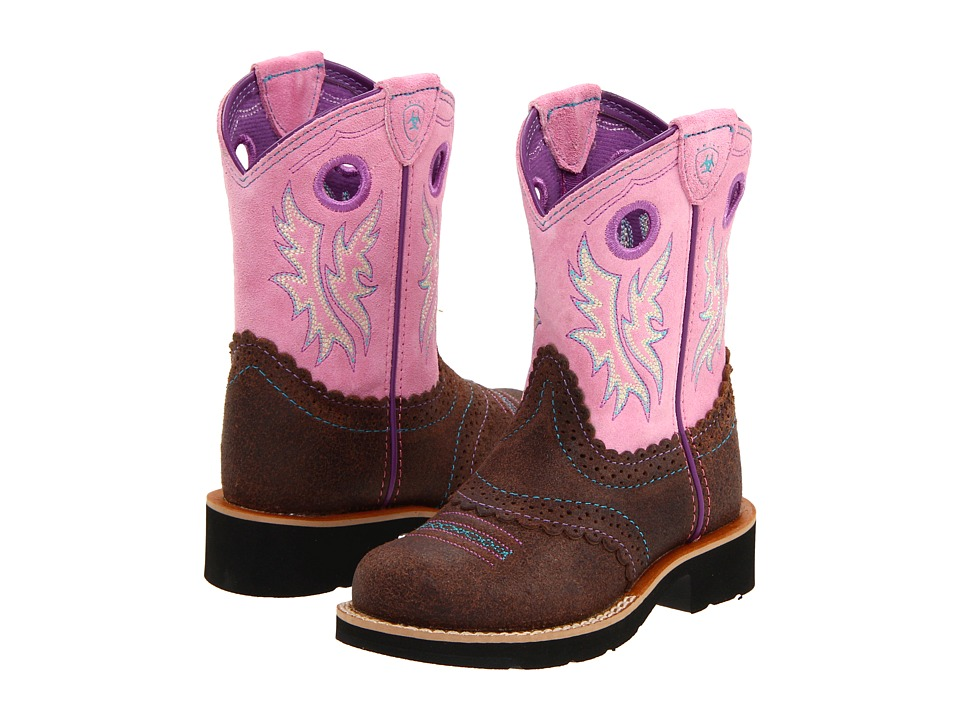 Ariat Kids - Fatbaby Cowgirl (Toddler/Little Kid/Big Kid) (Roughed Chocolate/Bubblegum) Girl's Shoes