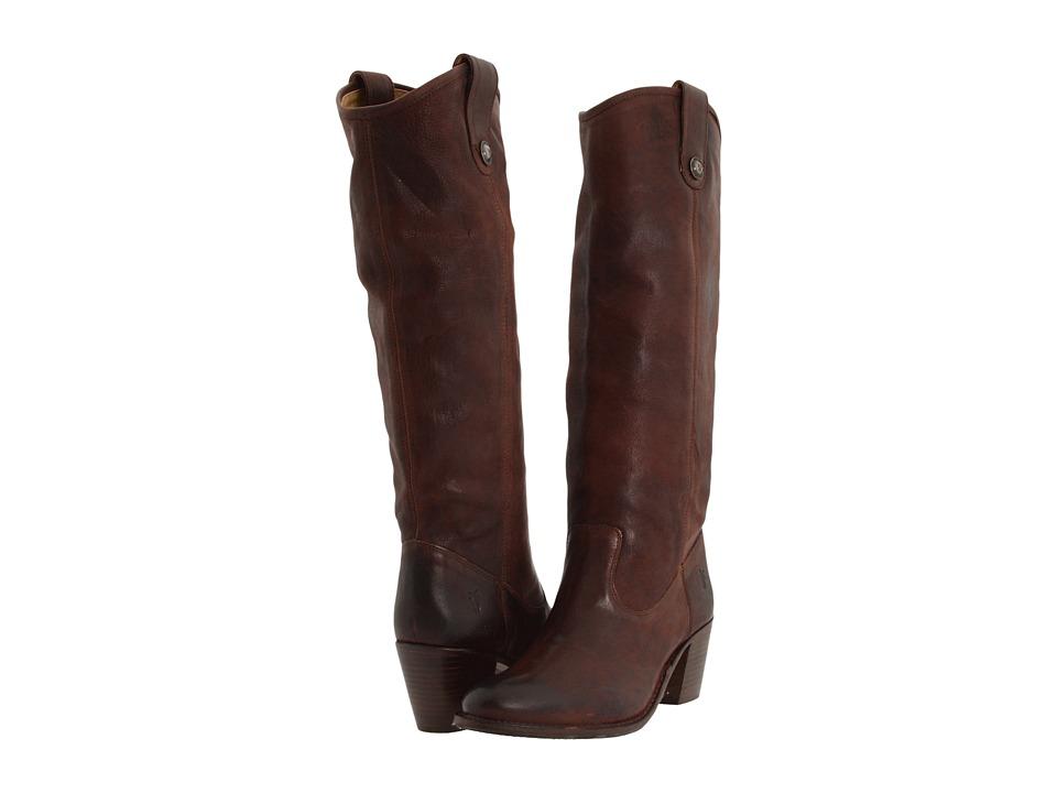 Frye - Jackie Button (Dark Brown Pressed Nubuck) Women's Dress Pull-on Boots