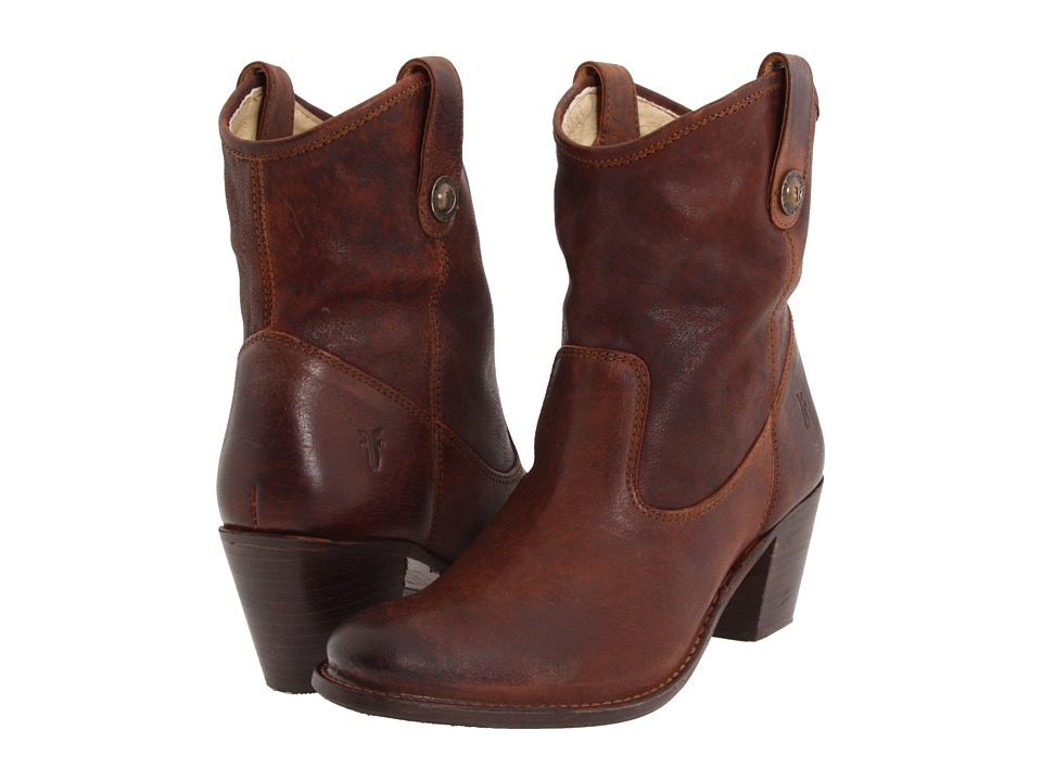 Frye - Jackie Button Short (Cognac Pressed Nubuck) Women's Dress Pull-on Boots