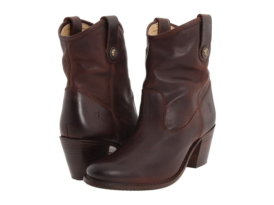 Frye - Jackie Button Short (Chocolate Soft Vintage Leather) Women's Dress Pull-on Boots