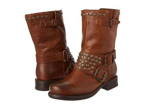 Frye - Jenna Studded Short (Cognac Soft Vintage Leather) Women's Pull-on Boots