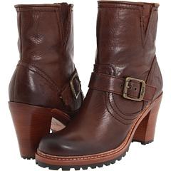 Frye Lucy Engineer (Chocolate Soft Pebbled Full Grain) Footwear