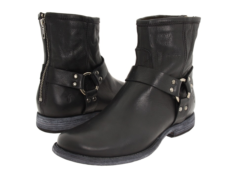 Frye Phillip Harness (Black Soft Vintage Leather) Women