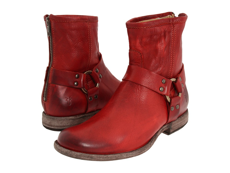 Frye Phillip Harness (Burnt Red Soft Vintage Leather) Women