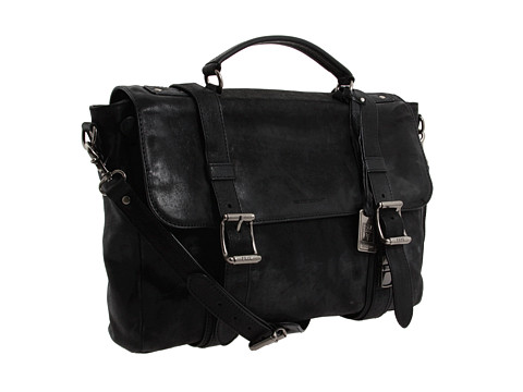 Frye - Logan Flap Brief Case (Black) Briefcase Bags