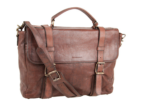 Frye - Logan Flap Brief Case (Dark Brown) Briefcase Bags