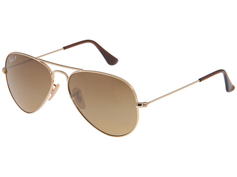 Ray-Ban - RB3025 Aviator 58mm Large Metal Polarized (Shiny Gold/Brown Gradient) Metal Frame Fashion Sunglasses