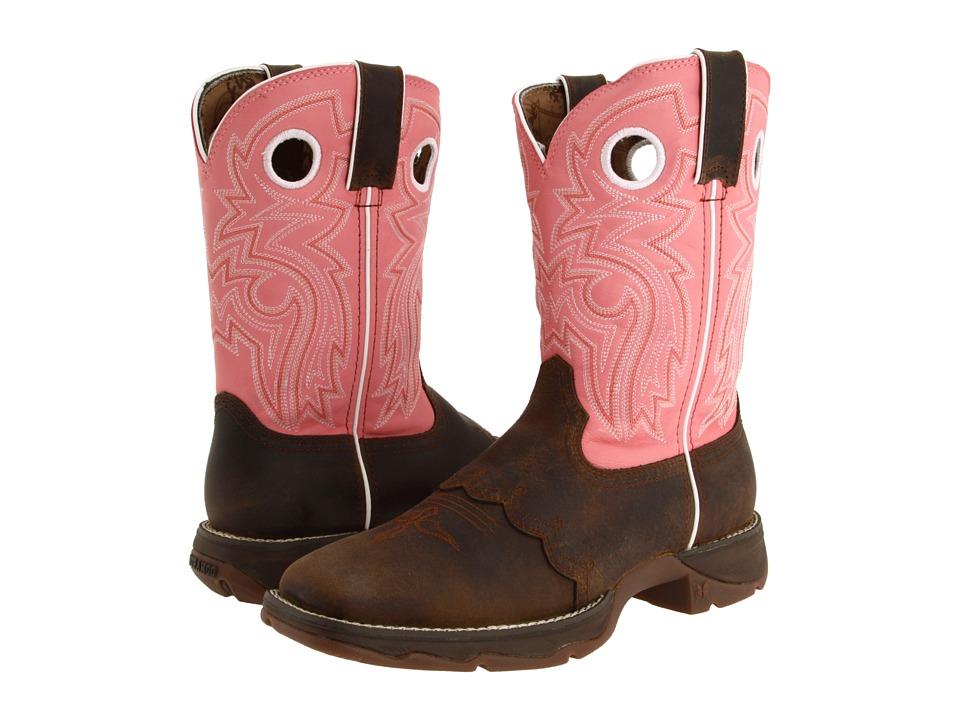 Durango - Flirt With Durango 10 Saddle Square Toe (Tan/Pink) Cowboy Boots