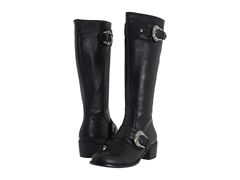 Roper - Knee High Buckle Boot (Black) Cowboy Boots