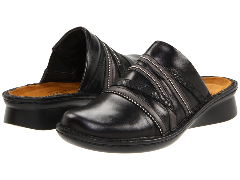 Naot Footwear - Lyric (Black Madras Leather/Metallic Road Leather/Black Sequin Nubuck) Women's Clog/Mule Shoes