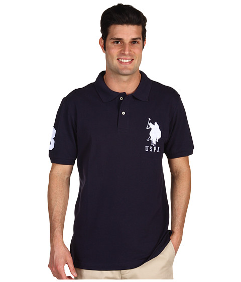 U.S. POLO ASSN. - Big Pony Polo (Navy/White) Men's Short Sleeve Knit
