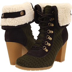 MUK LUKS Cuff Lace Up Shortie Boot (Loden) Footwear