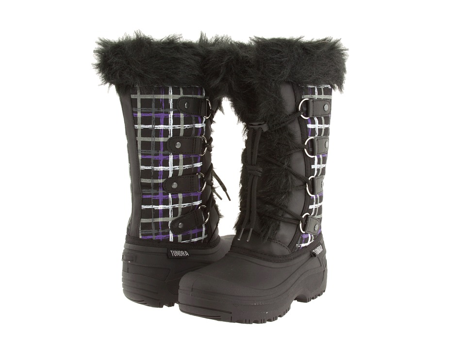 Tundra Boots Kids - Diana (Little Kid/Big Kid) (Black/Purple Strokes) Girls Shoes