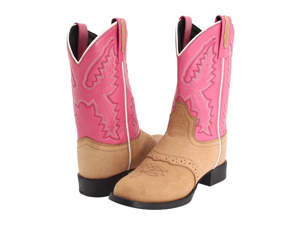 Old West Kids Boots - Ultra-Flex Western Boot (Toddler/Little Kid) (Light Sandra/Hot Pink) Cowboy Boots
