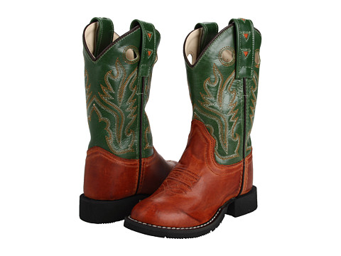 Old West Kids Boots - Comfort Wear Boot (Toddler/Little Kid) (Barnwood/Green Crackle) Cowboy Boots