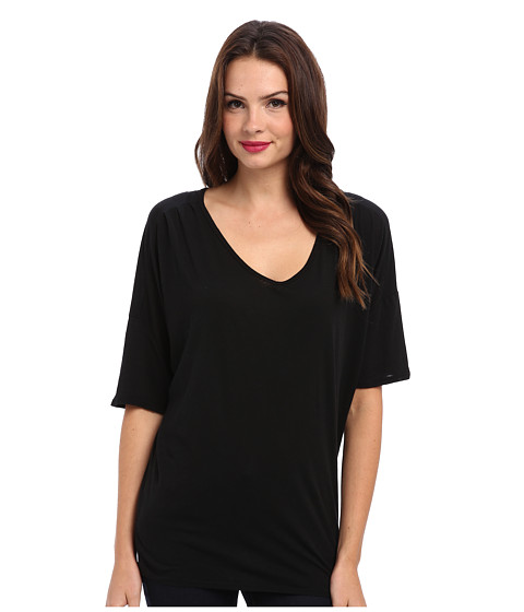 Michael Stars - Elbow Sleeve Relaxed V-neck (Black) Women