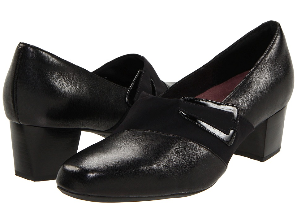 Clarks - Levee Bank (Black Leather) Women's Shoes