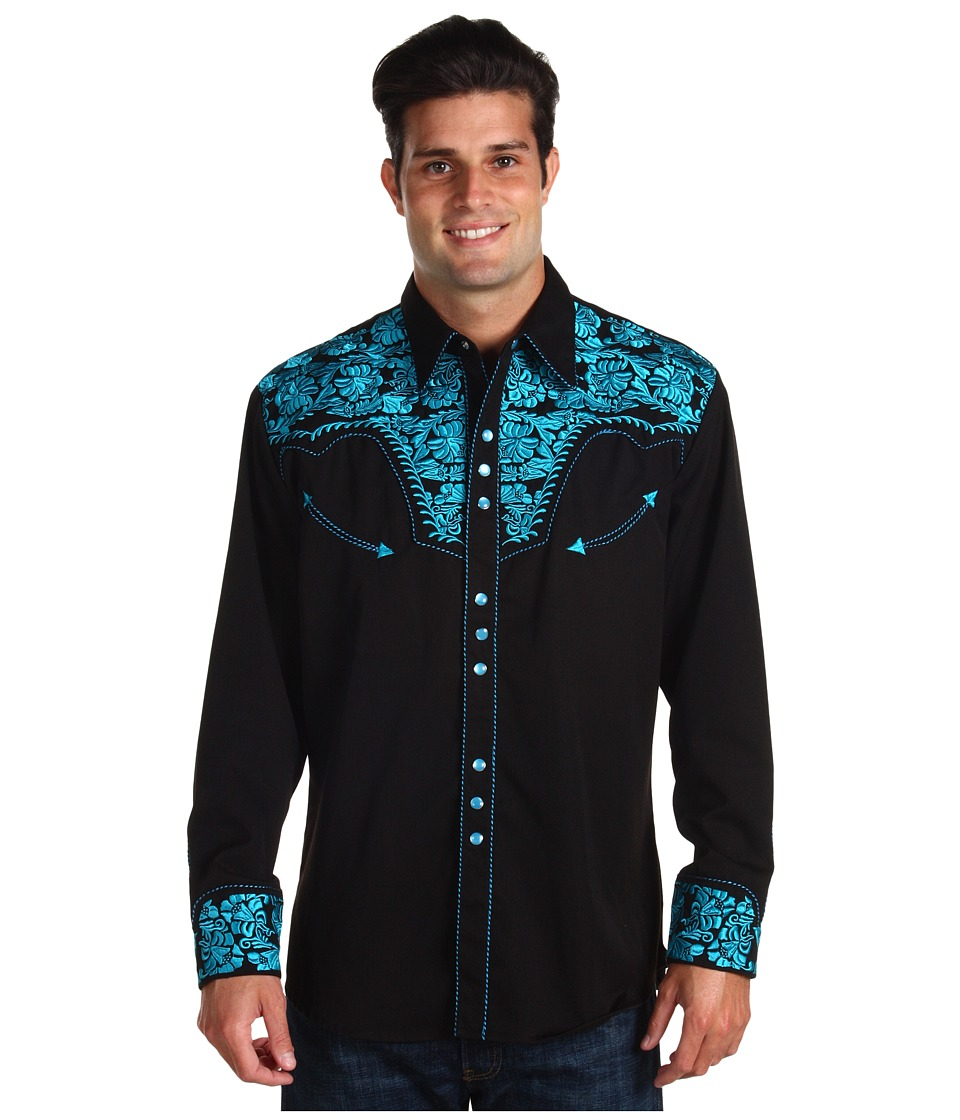 Scully - Floral Tooled Shirt (Turquoise) Men's Long Sleeve Button Up