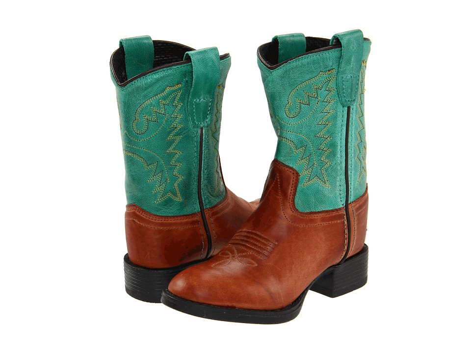 Old West Kids Boots - Ultra-Flex Western Boot (Toddler) (Barnwood/Vintage Turquoise) Cowboy Boots